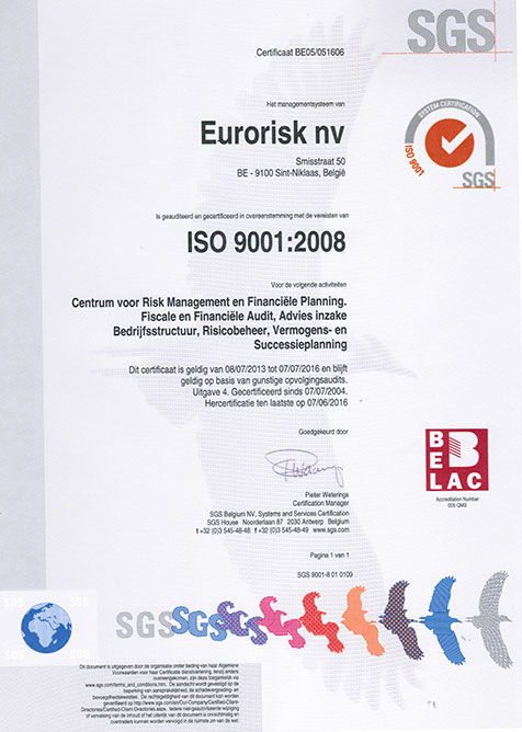 Eurorisk is ISE-9001 gecertifieerd